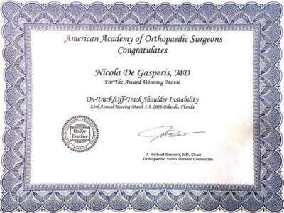 AAOS AWjARD1 - Dr. De Gasperis specialista in Ortopedia e Traumatologia